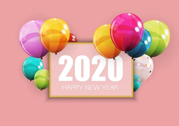 Feliz 2020 ano novo cartão com balões.
