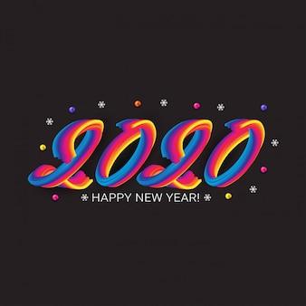 Feliz 2020 ano novo cartão com números fluidos coloridos