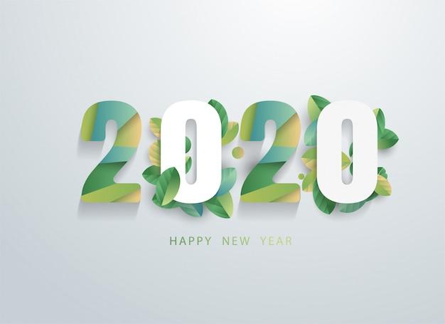 Feliz 2020 ano novo com banner de folhas verdes naturais