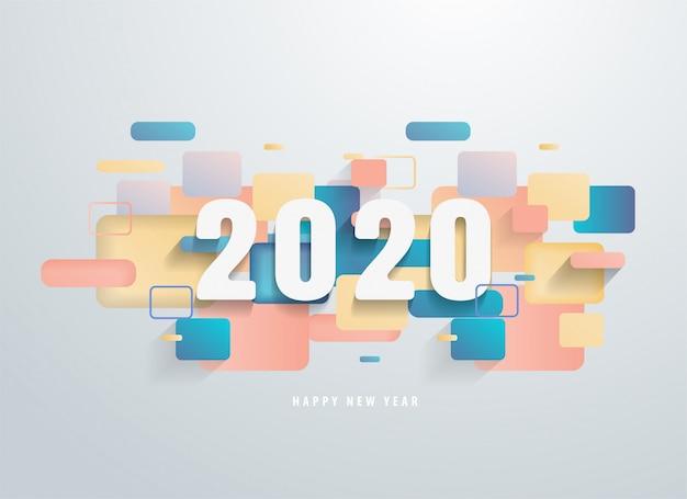 Feliz 2020 ano novo com banner de formas geométricas coloridas.