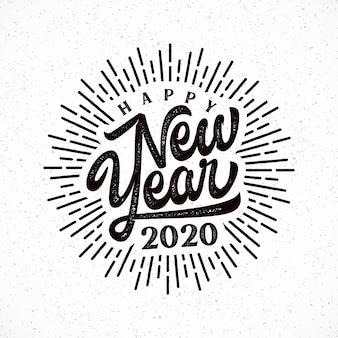Feliz 2020 ano novo letras com ilustração de explosão.