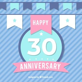 Feliz 30º aniversário fundo em estilo simples