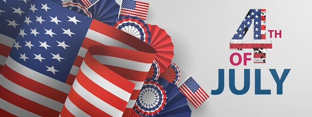 Feliz 4 de banner de férias de julho. fundo de celebração do dia da independência dos eua.