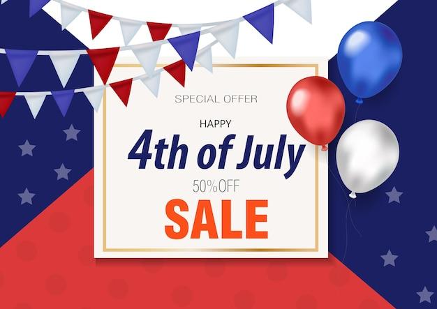 Feliz 4 de julho, banner com balões oferta especial de desconto na oferta especial do dia da independência dos estados unidos