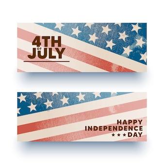 Feliz 4 de julho banners, folhetos.