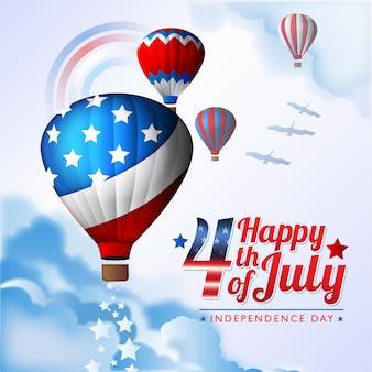 Feliz 4 de julho dia da independência americana balões de ar quente projeto crescente