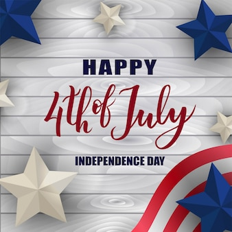 Feliz 4 de julho dia da independência mão letras com estrelas e bandeira.