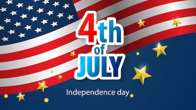Feliz 4 de julho feriado banner. dia da independência dos eua