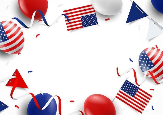 Feliz 4 de julho, fundo com bandeiras de balões