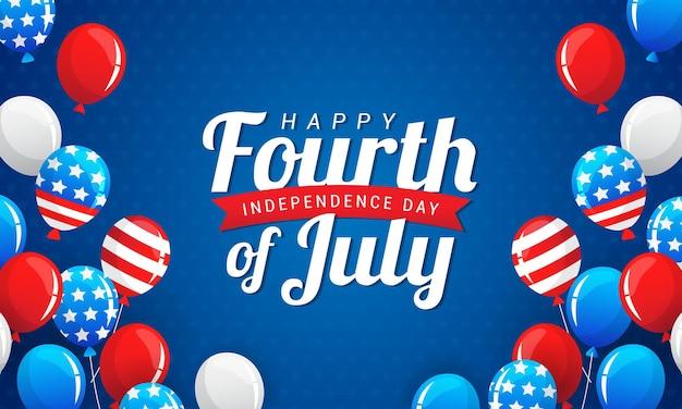 Feliz 4 de julho, fundo de balões