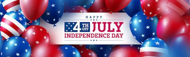 Feliz 4 de julho poster.usa celebração do dia da independência com muitos bandeira americana de balões. Vetor Premium