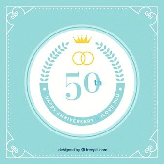 Feliz, 50th, aniversário, fundo, com, anéis