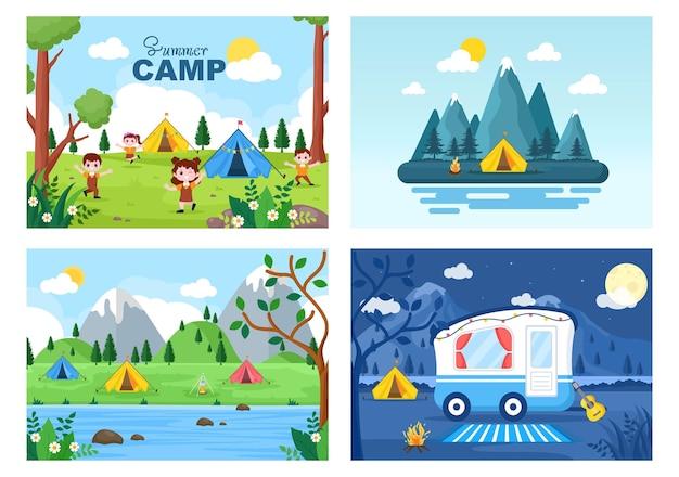 Feliz acampamento de verão na montanha ou praia para expedições, viagens, exploração e recreação ao ar livre.