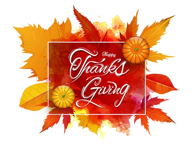 Feliz ação de graças com vista superior de abóboras em folhas de outono e respingo aquarela