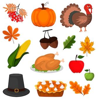 Feliz ação de graças outono colheita ícones