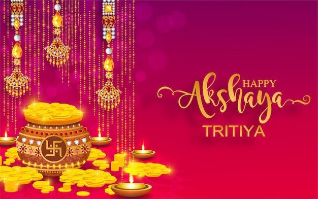 Feliz akshaya tritiya festival com ouro e cristais na cor de papel de fundo.
