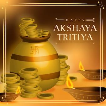 Feliz akshaya tritiya pilha de moedas de ouro