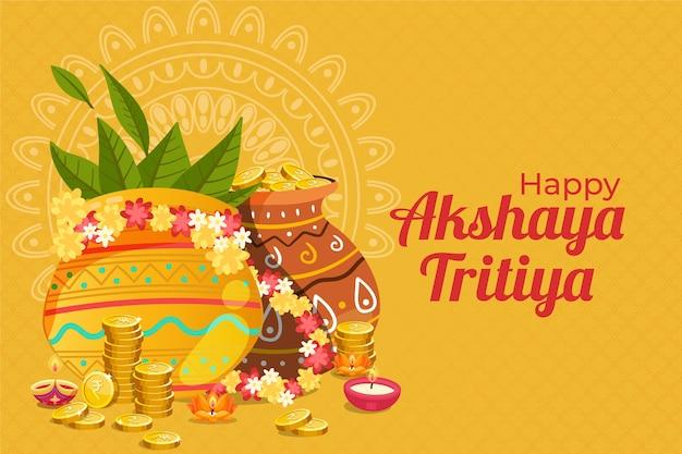 Feliz akshaya tritiya potes e moedas decorativos
