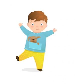 Feliz alegre pré-escolar brunet garoto menino brincalhão e abraços ativos.