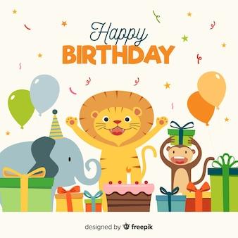 Feliz, animais, aniversário, fundo