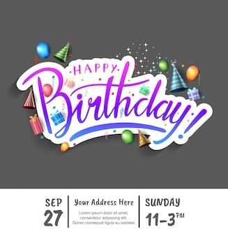 Feliz aniversário adesivo design para evento de comemoração