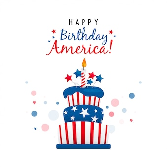 Feliz aniversário américa com cartão de bolo