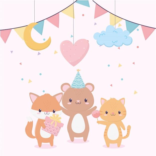 Feliz aniversário animais presente balão nuvem lua celebração decoração