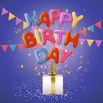 Feliz aniversário balão letras fundo