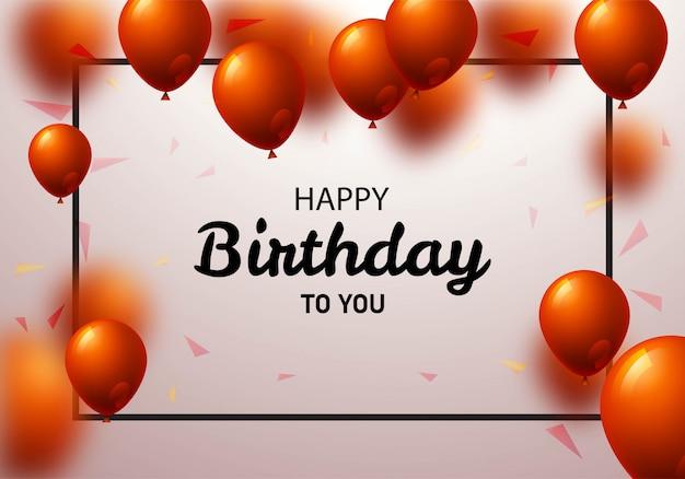 Feliz aniversário balões cartão fundo