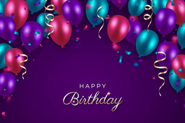 Feliz aniversário balões coloridos e fitas