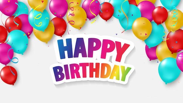 Feliz aniversário balões coloridos
