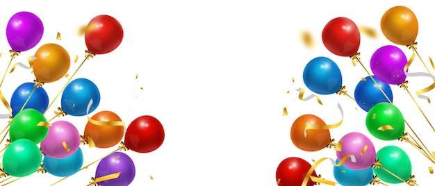 Feliz aniversário balões confetes coloridos com fundo