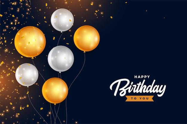 Feliz aniversário, balões dourados e prateados com confete