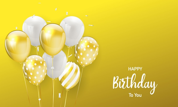 Feliz aniversário balões fundo celebração de ouro com confetes.