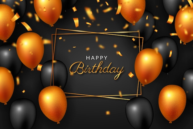 Feliz aniversário balões laranja e pretos