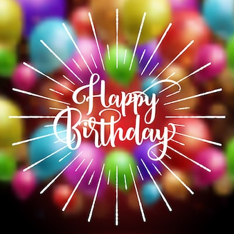 Feliz aniversário balões letras