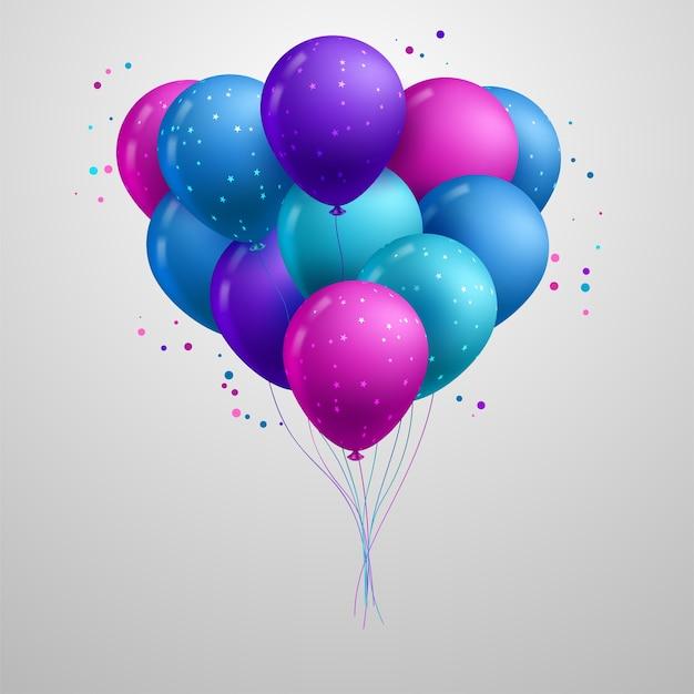 Feliz aniversário balões realistas Vetor Premium