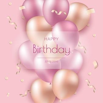 Feliz aniversário. balões rosa em fundo de feliz aniversário