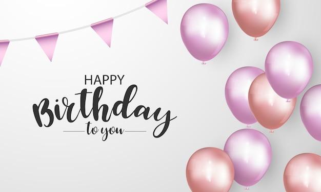 Feliz aniversário banner fundo colorido celebração Vetor Premium