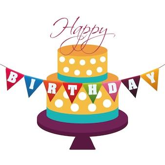 Feliz aniversário bolo decorativo pontos guirlanda