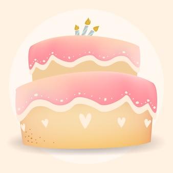 Feliz aniversário bolo design vector