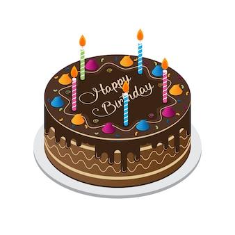 Feliz aniversário bolo vector
