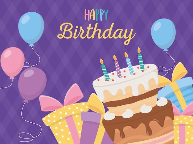Feliz aniversário, bolo velas caixas de presente balões celebração fundo roxo