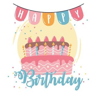 Feliz aniversário bolo velas e flâmulas celebração festa ilustração dos desenhos animados