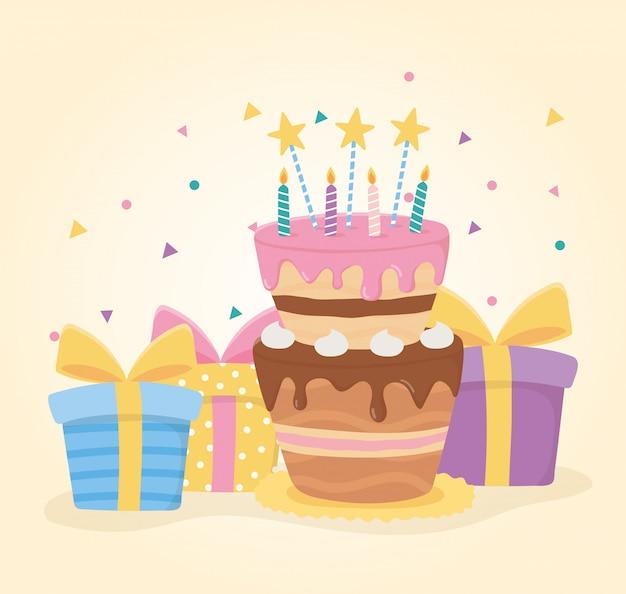 Feliz aniversário, bolo velas estrelas e caixas de presente surpresa celebração