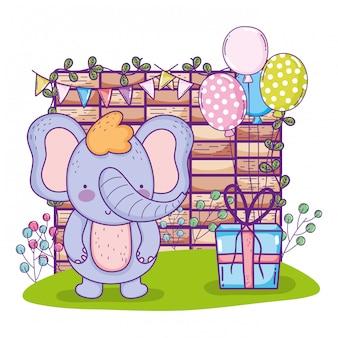 Feliz aniversário bonito elefante com presente presente