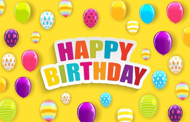 Feliz aniversário brilhante balões fundo ilustração vetorial