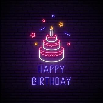 Feliz aniversário brilhante sinal de néon para cartão