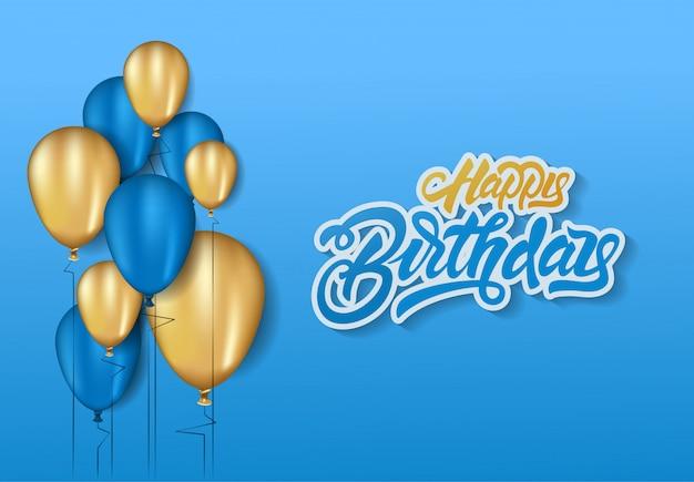 Feliz aniversário cartão azul
