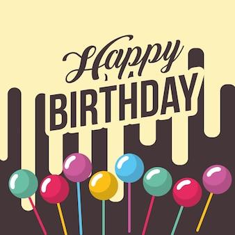 Feliz aniversário cartão bolhas na decoração da vara na moda